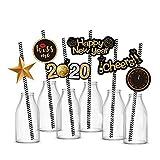 Losuya 36pcs 2020 Silvester Party Stroh Dekoration Papierstrohhalme Party Favors