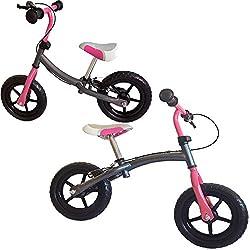 Kinder Laufrad, Doppelfunktionsrahmen, mit Handbremse, ca. 30,3cm (12 Zoll), silbergrau-pink, mitwachsendes Lernlaufrad, für Kinder ab 2 Jahren