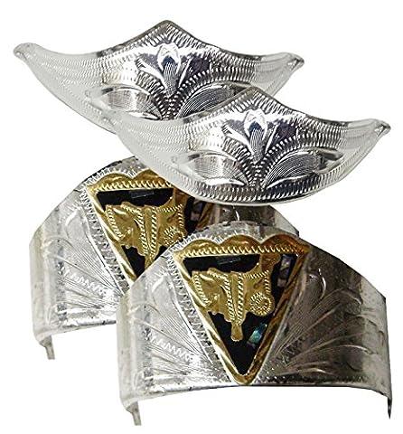 Modestone 4 Pcs Nickel Silver Boot Caps: 2 x Saddle Heel + 2 x Filigree Toe