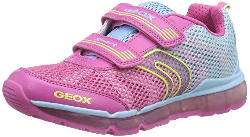 Geox J Android Girl A, Scarpe Low-Top Bambina Multicolore (Fuchsia/Sky C8328)