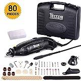 Amoladora eléctrica 170W, TECCPO Mini amoladora Avanzado Profesional Kit de herramientas rotatorias multifunción con 80 accesorios y 5 accesorios Velocidad variable para artesañas de TECCPO