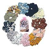 FORMIZON 12 Piezas de Scrunchies de Pelo Flor de Gasa, Coleteros de Gasa para Cabello, Elástico Hair Scrunchies para Mujeres y Chicas