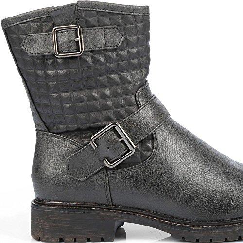 Ideal Shoes–Stiefelette Kunstleder mit Teil Gesteppte und Gurtbändern Genia Schwarz - Schwarz