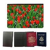 PU Pass Passetui Halter Hülle Schutz // M00156980 Hintergrund Blumenbeet Blüte Blumen // Universal passport leather cover