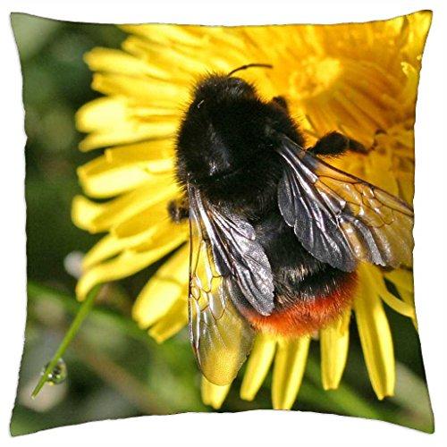 """Bombus lapidarius - Throw Pillow Cover Case (18"""" x 18"""")"""