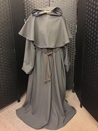 152,4cm Länge Grau Wolle Feel Jedi Robe Erwachsene Größe mit Öffnung vorne, Zeremonie/RITUAL/Pagan/Jedi/Wizard/Larp