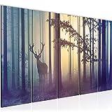 Bilder Wald Hirsch Wandbild 150 x 60 cm Vlies - Leinwand Bild XXL Format Wandbilder Wohnzimmer Wohnung Deko Kunstdrucke Blau 5 Teilig - MADE IN GERMANY - Fertig zum Aufhängen 013456a