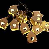 #6: Generic Romantic Wedding Party Christmas Tree Decor String Lights with 10 Wood House Shape Bulbs