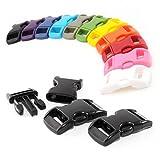 Klickverschluss Farb-Mix Set 3/8' (10mm breit) aus Kunststoff / Klippverschluss / Steckschließer / Steckverschluss für Paracord-Ärmbänder, Hunde-Halsbänder, Rucksack, Reisegepäck u.V.m. Marke Ganzoo