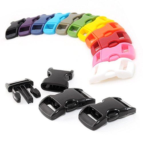 Klickverschluss Farb-Mix Set 3/8' (10mm breit) aus Kunststoff / Klippverschluss / Steckschließer / Steckverschluss für Paracord-Ärmbänder, Hunde-Halsbänder,...