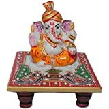 HANDMADE CRAFT Ganesh Idol with Makrana Marble Chowki for Pooja/Home Décor