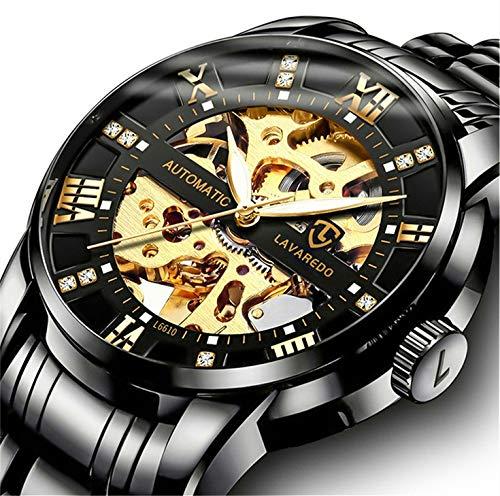 Orologio,orologio uomo meccanico automatico affari classico scheletro orologio da polso in acciaio con inossidabile con quadrante numeri romani diamante nero