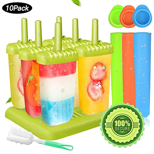 Specool 6 Eisformen Popsicle Formen EIS am Stiel BPA Frei Set,3 Stück Eislutscher Popsicle Formen, LGFB Geprüft und Bra Frei, mit Reinigungsbürste (Grün2)