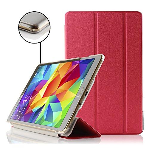 Urcover® Galaxy Tab S 8.4 Smart Case Hülle Sleeve Tasche [ Sleep/Wake & Stand-Funktion ] mit transparenter Rückseite Cover Portfolio Case Schutz-Hülle Tablet Zubehör Rot