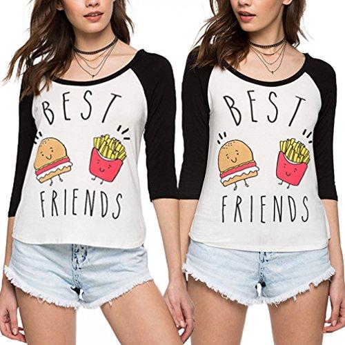 *Best Friends T-shirt JWBBU® Guter Freund Hamburger Pommes frites T-shirt für zwei Damen Mädchen Sommer Schwarz Rot Oberteil mit Aufdruck 2 Stücke (L+M, schwarz+schwarz)*