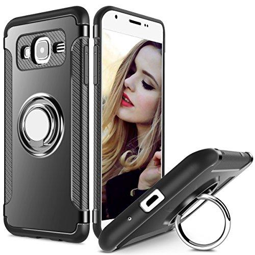Hülle für Samsung Galaxy J2 Prime (5 Zoll) 360 Grad Drehbar Ringhalter mit Magnetischer Handyhalter Auto Handyhülle (Schwarz)