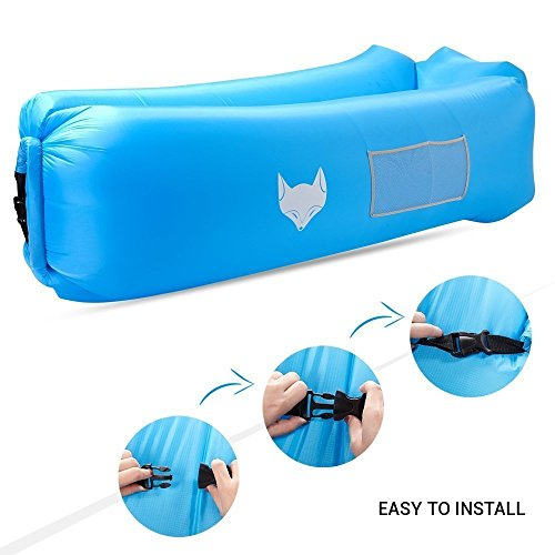 IceFox Luftsofa, Wasserdichtes Air Lounger mit Tragebeutel, zum Zurücklehnen und Entspannen, Aufblasbarer Sitzsack