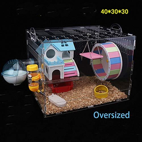 DANGONG BROTHERS Hamsterkäfig, Acrylmaterial transparent, Goldener Bär, Hamstervilla in Übergröße, Hamsterkäfig, komplettes Set (Trompete)