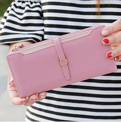 Dairyshop Borsa della borsa della borsa della signora del raccoglitore lungo della signora femminile delle donne di modo (rosa) rosa caldo