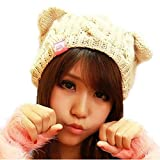 Demarkt Katze Ohren geformt Damen Mädchen häkeln stricken Ski Hut Warm Beanie Wollmütze Wintermütze Strickmütze (Beige)