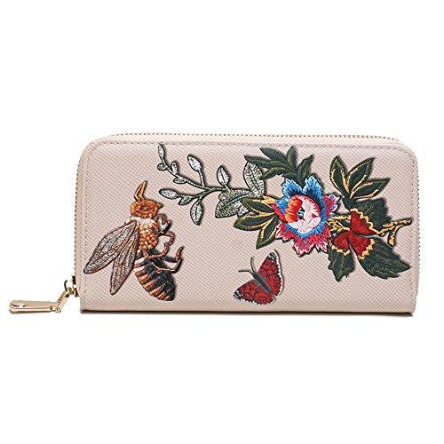 AUMING Dame-Designer-Luxus-Qualitäts-weiche prägeartige Geldbeutel-Multi Kreditkarte-Frauen-Kupplungs-Geldbörse mit Reißverschlusstasche (Color : Beige) - Multi-kupplungs-geldbeutel