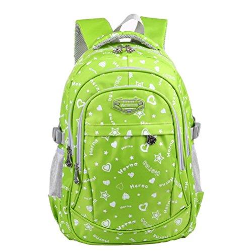QPYC Studente dello zaino Modo di svago degli studenti della scuola primaria e secondaria Uomini e donne Borsa borsa Zaino borsa leggera , blue green