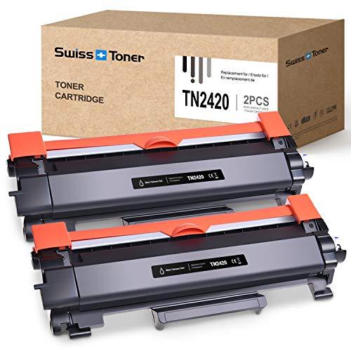 SWISS TONER TN2420 Cartuccia Toner Compatibile con Brother TN2420 TN-2420 per HL-L2310D HL-L2370DN HL-L2375DW MFC-L2710DN MFC-L2710DW MFC-L2730DW MFC-L2750DW DCP-L2510D DCP-L2530DW, 2x Nero