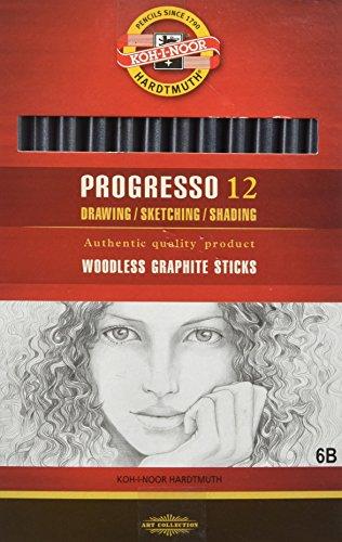 KOH-I-NOOR Progresso Graphitstift, holzfrei, Härtegrad 6B (12 Stück)