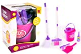 Rostrad ® Girls Role Play Cleaning Cleaner Toy Pink Bucket Dust Pan Brush Toy Set Kids