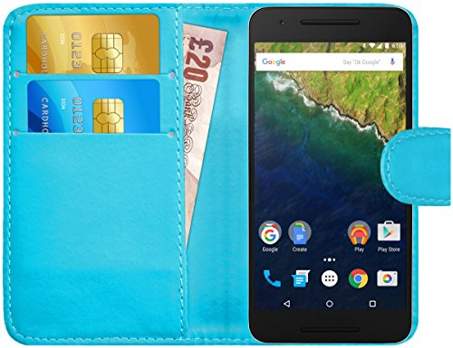 G-Shield Hülle für Google Nexus 6P Klapphülle mit Kartenfach - Hellblau