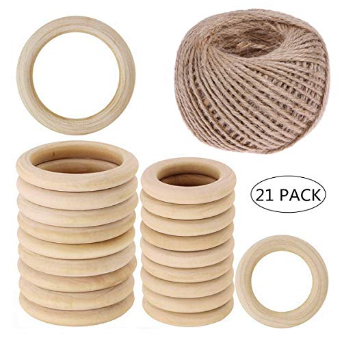 Wooden Rings 20 Pack, Natural Wood Loop Ring with 100m Jute Twine String  2mm Thick Strong Natural Jute Rope for Craft DIY Jewelry Making Baby Infant