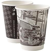 Thali Outlet® – 1000 x 12 oz doble pared Barista papel tazas de café 2 capas aislado para té Espresso bebidas calientes + tapas negras