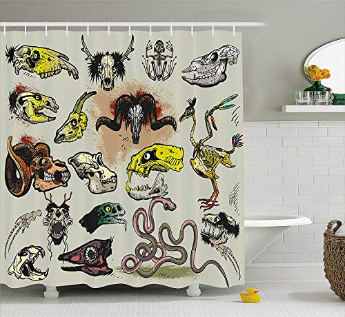 tgyew Modern Shower Curtain, Animal Skeleton Icons Composition with Gothic Faces Dead Creatures Illustration, Fabric Bathroom Decor Set with Hooks, 60 * 72inch Extra Long, Multicolor -