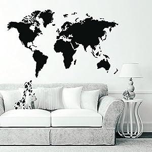 Aliciashouse Mundo de PVC grande mapa extraíble vinilo pared etiqueta engomada de la casa dormitorio oficina arte etiqueta-blanco