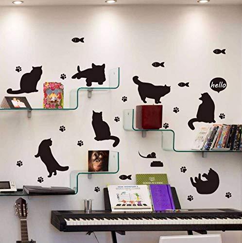 Xzfddn Schwarze Katze Silhouette Wandaufkleber Bücherregal Treppe Korridor Eingang Wandaufkleber Für Kinderzimmer Wohnkultur Wandbild