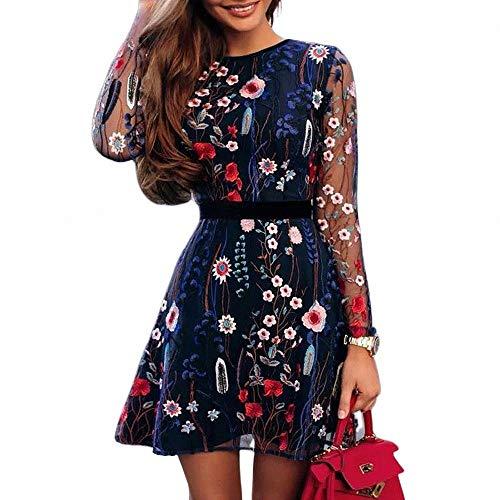 FeiXing158 2019 Frühlings-Sommer-Minikleid-reizvolle Art- und Weiseblumengestickte Partei-Kleid-Spitze-Ineinander greifen-doppelte Schicht-Minikleid - Royal Blue Shift Kleid