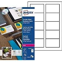 Avery 250 Cartes de Visite à Bords Lisses 220g - 85x54mm - Impression Laser - Satiné - Blanc (C32016)