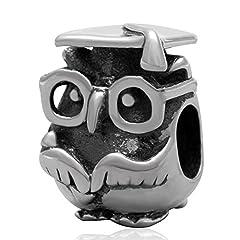 Idea Regalo - Soulbead charm gufo laurea in argento Sterling 925 compatibile con bracciali dei principali marchi di gioielli-