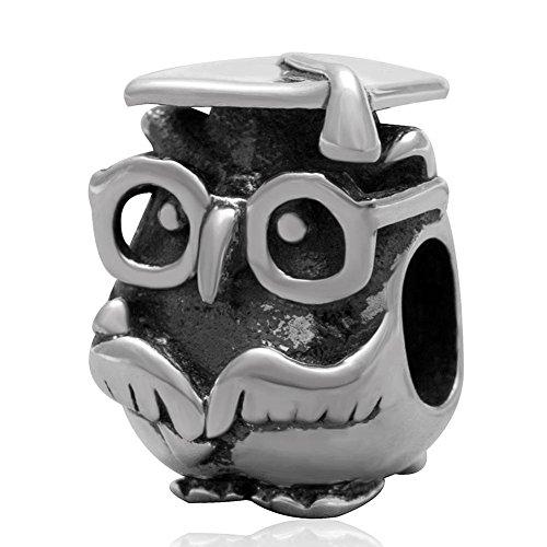 Soulbead charm gufo laurea in argento sterling 925 compatibile con bracciali dei principali marchi di gioielli-