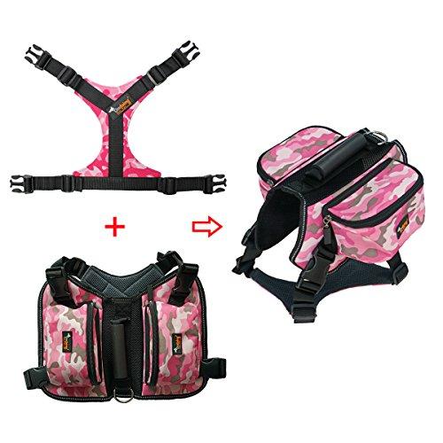 Ondoing Hund Rucksack Einstellbar Satteltasche Hundegeschirr mit Leine für Wandern Camping Reise L Camo Pink