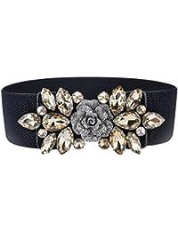 Tinksky Cinturón de cincha de cintura elástica de mujer de moda floral para vestido con hebilla de cristal (Tawny)