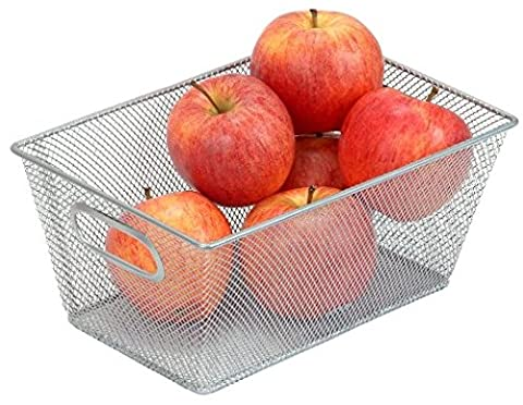 Silver Mesh Open Bin Storage Basket Organizer for Fruits, Vegetables, Pantry Items Toys, Etc. 9.8 X 6.5 X 4.5 1100 by YBM HOME