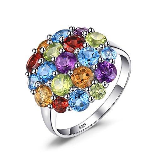 JewelryPalace Luxus 4.4ct Mehrfarbig Natürlicher Amethyst Citrin Granat Peridot Schweizer Himmel Blau Topas Cocktail Ring 925 Sterling Silber Natürlichen Citrin Ring