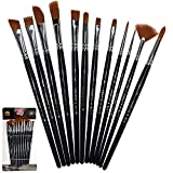 #9: Aeoss Paint Brushes 12 Pieces Set Professional Paint Brush Round Pointed Tip Nylon artist acrylic brush for Acrylic Watercolor Oil Painting