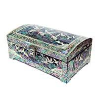 Mother of Pearl Inlay Crane and Moon Design Black Lacquer Decorative Wooden Handcrafted Velvet Jewellery Trinket Keepsake Treasure Box Case Chest Organizer