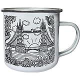 Arte De Puente De La Nueva Torre De Londres Retro, lata, taza del esmalte 10oz/280ml l835e