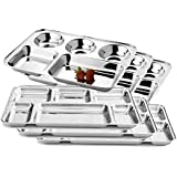 King International 100% Stainless Steel Silver Rectangular Five Compartment Dinner Plate And Rectangular Six Compartment Dinner Plate | Stainless Steel Plate | Mess Trays Great For Camping Set Of 6 Pieces