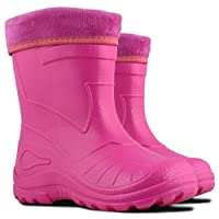 Kolma Ultra Light EVA Kids Girls Wellington Boots Rainy Snow Wellies Red Very Warm Liners