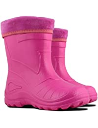 26a16b513346 Ultra Light EVA Kids Girls Wellington Boots Rainy Snow Wellies Red Very  Warm Liners