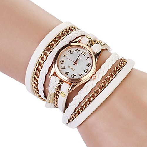 Broadfashion Frauen Damen Uhr Weben Wickeln Niet Leder Armband Quarz Analog Armbanduhr